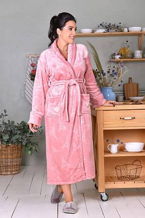 Женский длинный плюшевый халат цвета пудра батал, фото 2