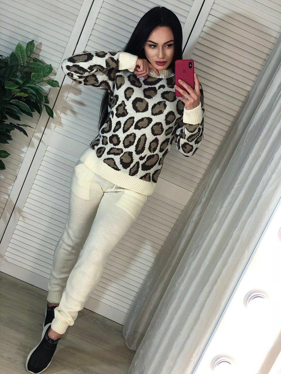 Костюм теплый женский вязаный штаны и кофта леопард
