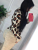 Костюм теплый женский вязаный штаны и кофта леопард, фото 3