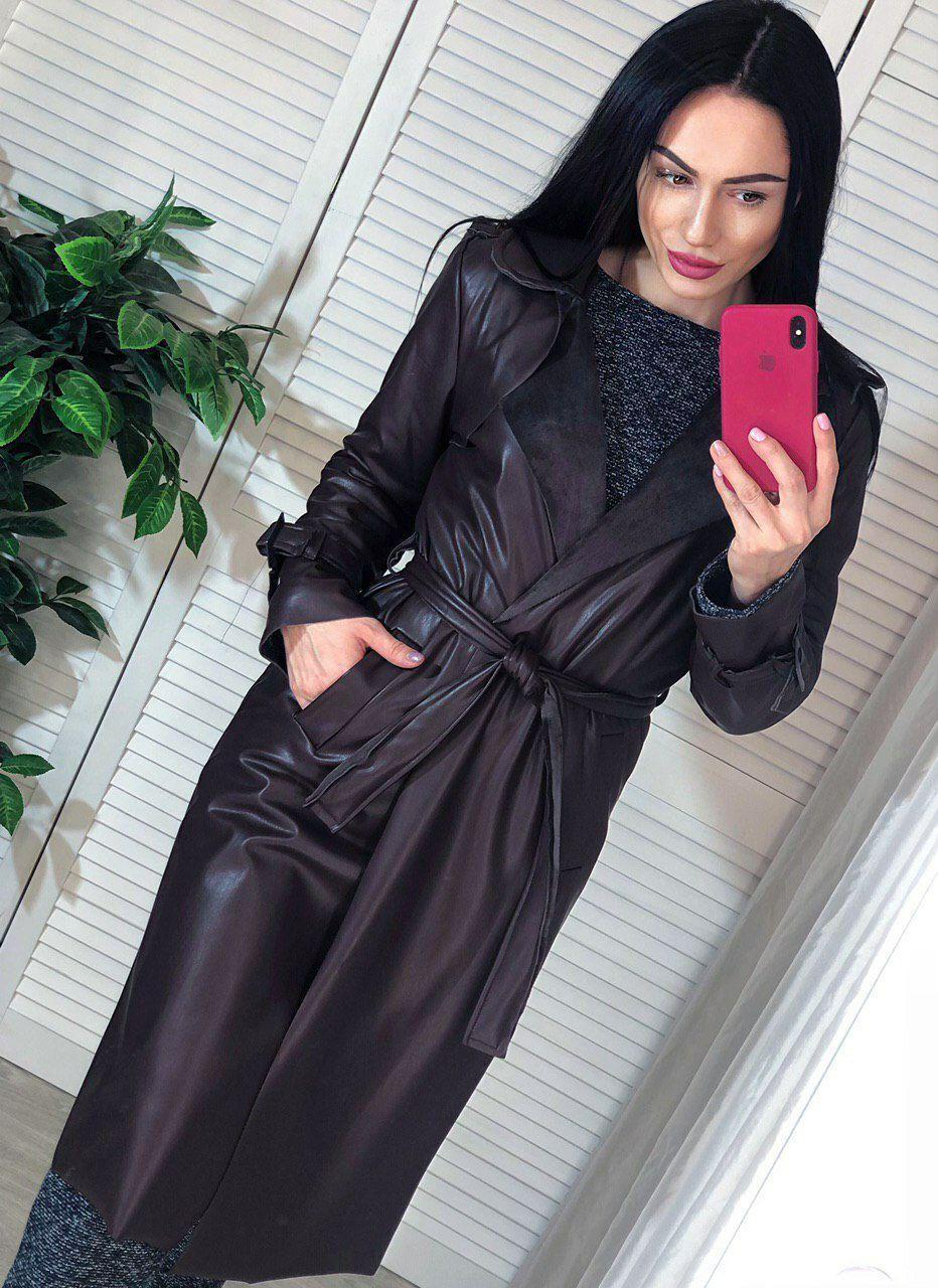 Пальто с поясом и карманами экокожа на замшевой основе