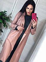 Пальто с поясом и карманами экокожа на замшевой основе, фото 2