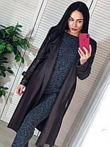 Пальто с поясом и карманами экокожа на замшевой основе, фото 3