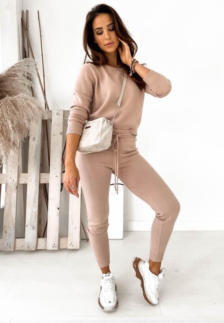 Костюм теплый женский вязаный кофта и штаны в обтяжку