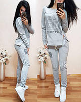 Женский повседневный удобный костюм принт Givenchy кофта с молниями по бокам штаны с карманами Норма и Батал