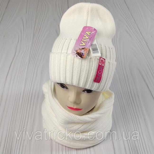 """М 94064. Комплект зимний для девочки шапка""""Rose"""" и хомут , разные цвета (3-12 лет)"""