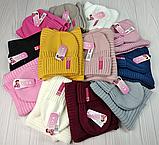 """М 94064. Комплект зимний для девочки шапка""""Rose"""" и хомут , разные цвета (3-12 лет), фото 6"""