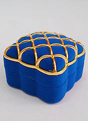 Футляр сетка для кольца синий бархатный 0352