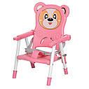 Дитячий складаний стільчик для годування Bambi 113-8 Рожевий, фото 3