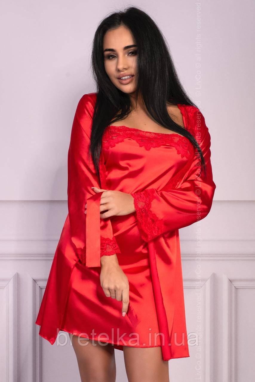 Халат атласный ночная рубашка и стринги красный Livia Corsetti Jacqueline