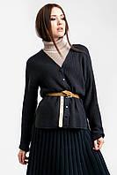 Классический кардиган прямого силуэта с боковыми разрезами выполнен из нежной пряжи средней толщины черно-синий