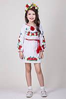 Вышитое подростковое платье с цветочной вышивкой Марыся