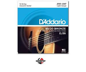D`ADDARIO EJ36 Струны для акустической гитары 12-струн .010-.047