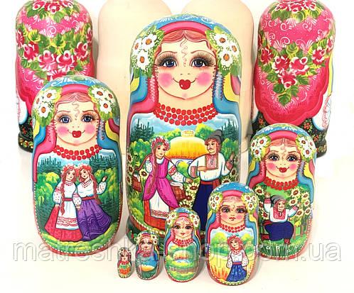 Матрешки из 7 шт большие расписные, подарок украинский сувенир
