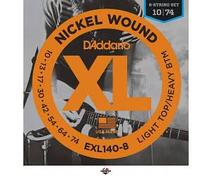 D`ADDARIO EXL140-8 XL Nickel steel Струны для электрогитары 8 струн .010-.074