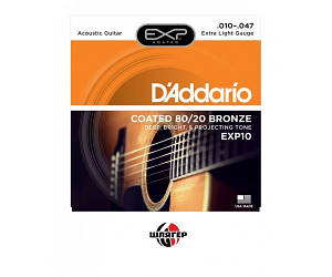 D`ADDARIO EXP10 80/20 Bronze Extra Light Струны для акустической гитары .010-.047