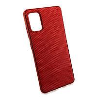 Чохол для Samsung A41, A415 накладка на бампер протиударний Carbon Silicone Case червоний