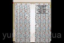Комплект штор 2 шт из натуральной хлопковой испанской ткани с бирюзовыми и коралловыми цветами 400389v1