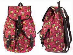 Рюкзак Полотняний Pattern Совушки Рожевий