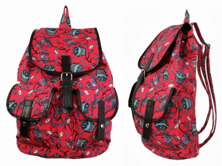 Рюкзак Холщовый Совушки красный