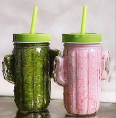 Склянку з трубочкою Кактус 450 мл (Зелений)