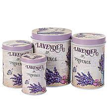 Набор из 4-х жестяных банок Лаванда 18144-010 баночки для специй банки для круп для сыпучих