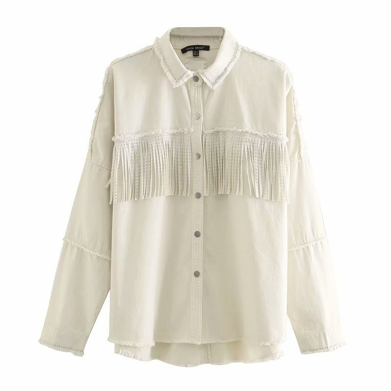 Рубашка женская джинсовая с бахромой в стиле ZARA. Стильная куртка, размер XS (бежевая)