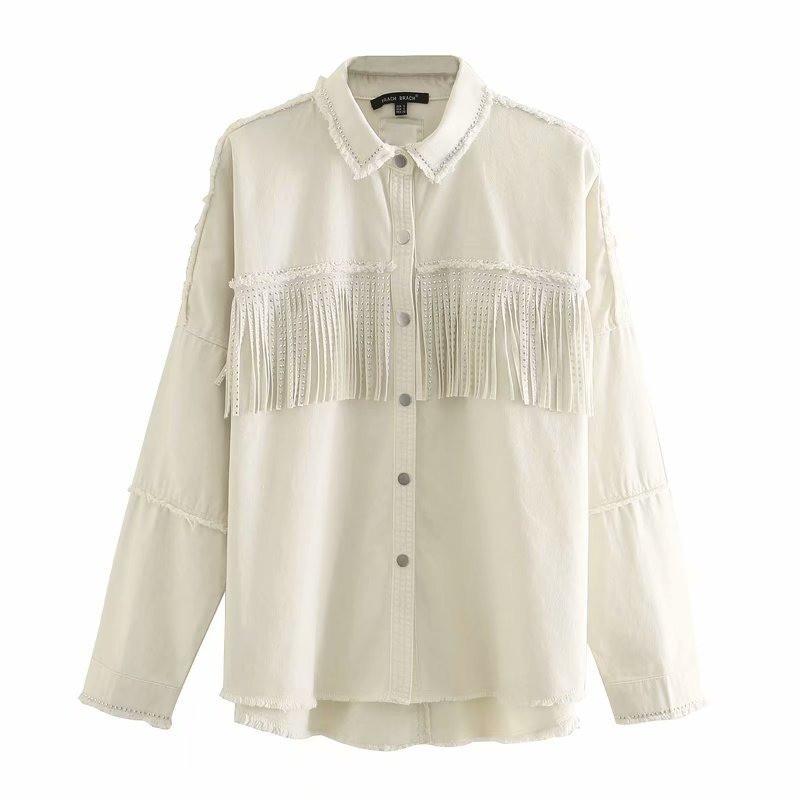 Сорочка жіноча джинсова з бахромою в стилі ZARA. Стильна куртка, розмір XS (бежева)