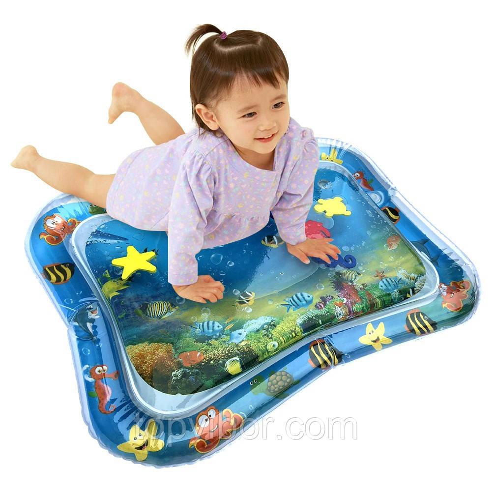 🔝 Развивающий игровой детский водный коврик (65х55см) надувной водяной акваковрик для детей с водой и рыбками | 🎁%🚚