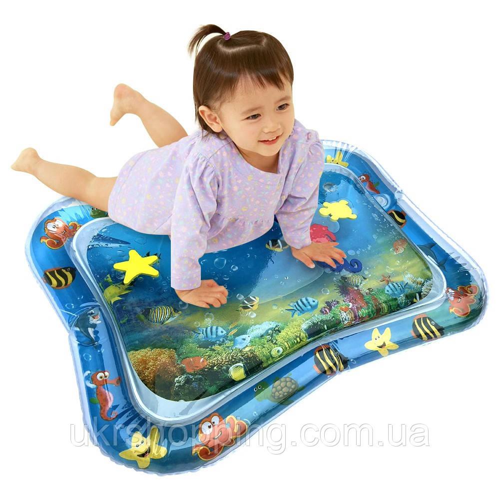 Розвиваючий ігровий дитячий водний килимок (65х55см) надувний водяній акваковрік для дітей з водою і рибками