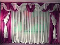 Готовый комплект на окно №132-5 Ламбрекен шторы тюль 5м