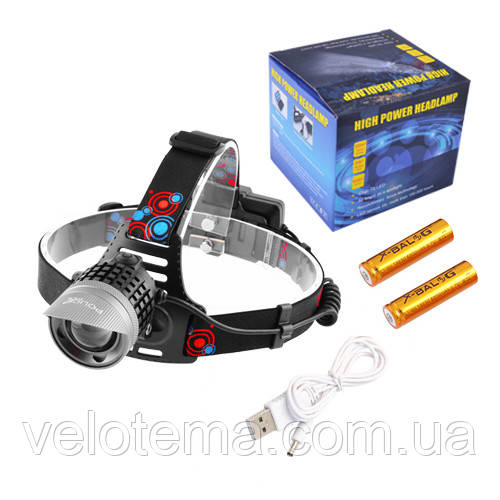 Ліхтар налобний Police для риболовлі туризму ЗУ micro USB, 2x18650, signal light, zoom, Box