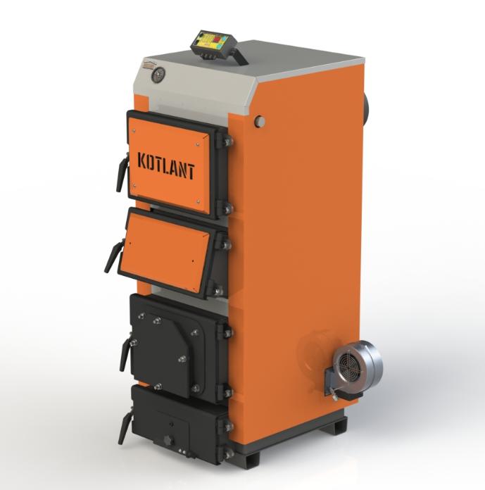 Твердотопливный котел Kotlant КГУ-20 кВт с электронной автоматикой и вентилятором