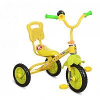Трехколесный велосипед Bambi M 1190 желтый для самостоятельной езды с клаксоном