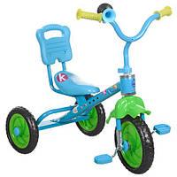 Трехколесный велосипед Bambi M 1190 зелено-голубой для самостоятельной езды с клаксоном