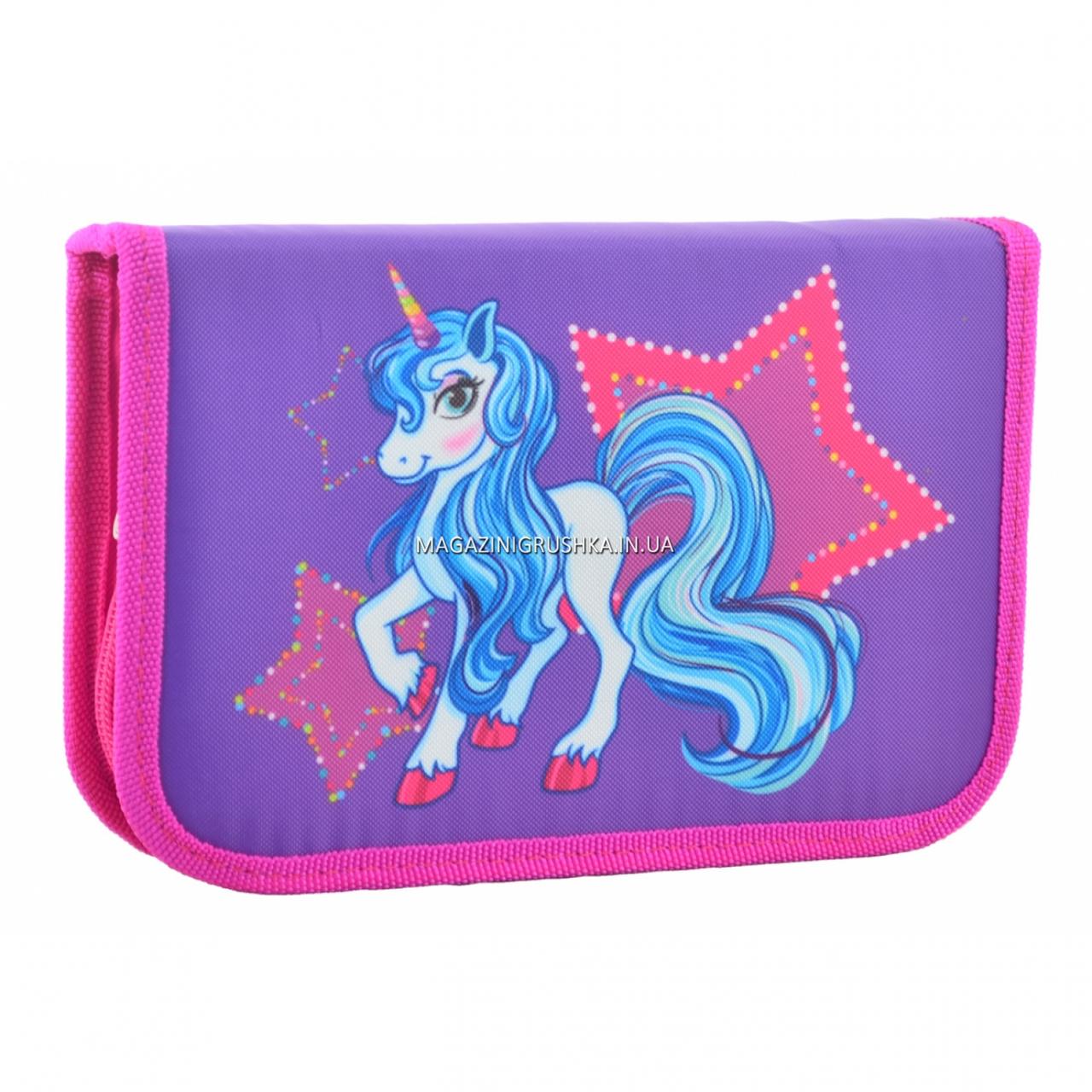 Пенал твердый Smart одинарный с двумя клапанами Unicorn Smart фиолетовый (531701)