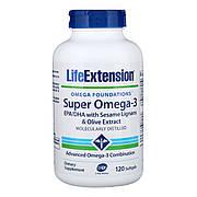 Супер Омега-3, Omega Foundations, Super Omega-3, Life Extension, 120 Желатинових Капсул
