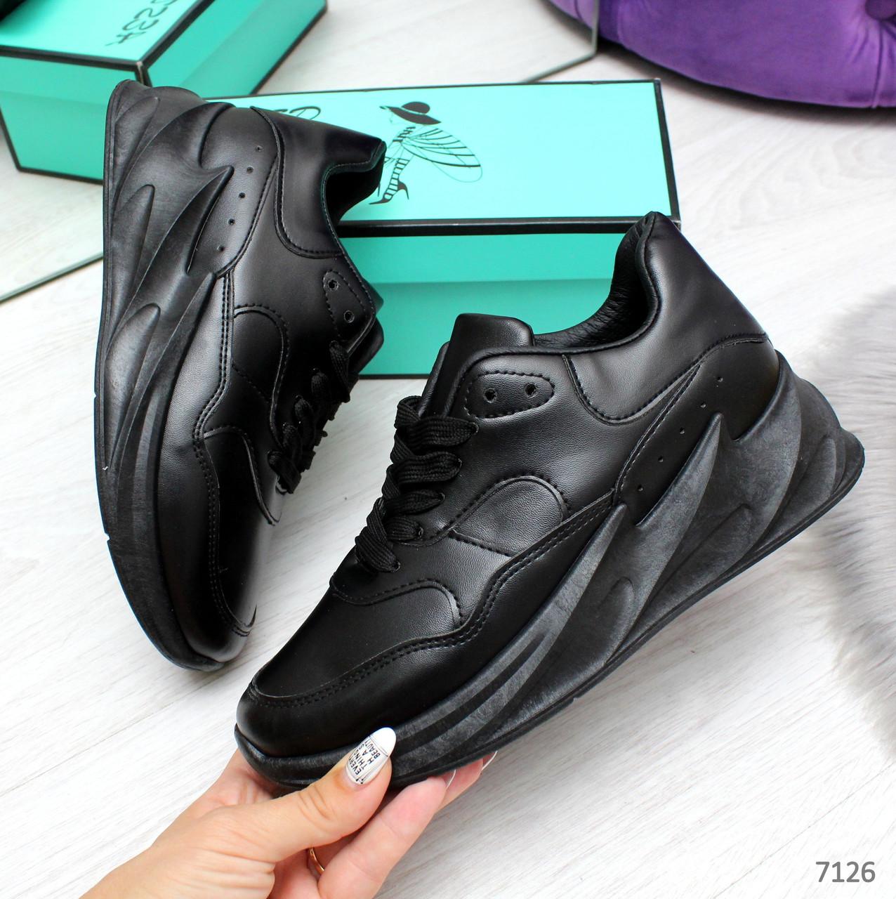 Удобные повседневные черные женские кроссовки на шнуровке