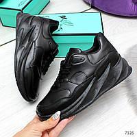 Удобные повседневные черные женские кроссовки на шнуровке, фото 1