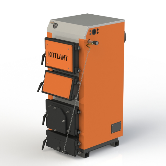 Твердотопливный котел длительного горения Kotlant КГУ-30 кВт с механическим регулятором тяги