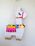 Красивая пиньята лама пината на день рождения бумажная для праздника яркая Лама пиньята для девочки белая лама, фото 5