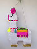 Красивая пиньята лама пината на день рождения бумажная для праздника яркая Лама пиньята для девочки белая лама, фото 4