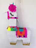 Красивая пиньята лама пината на день рождения бумажная для праздника яркая Лама пиньята для девочки белая лама, фото 3