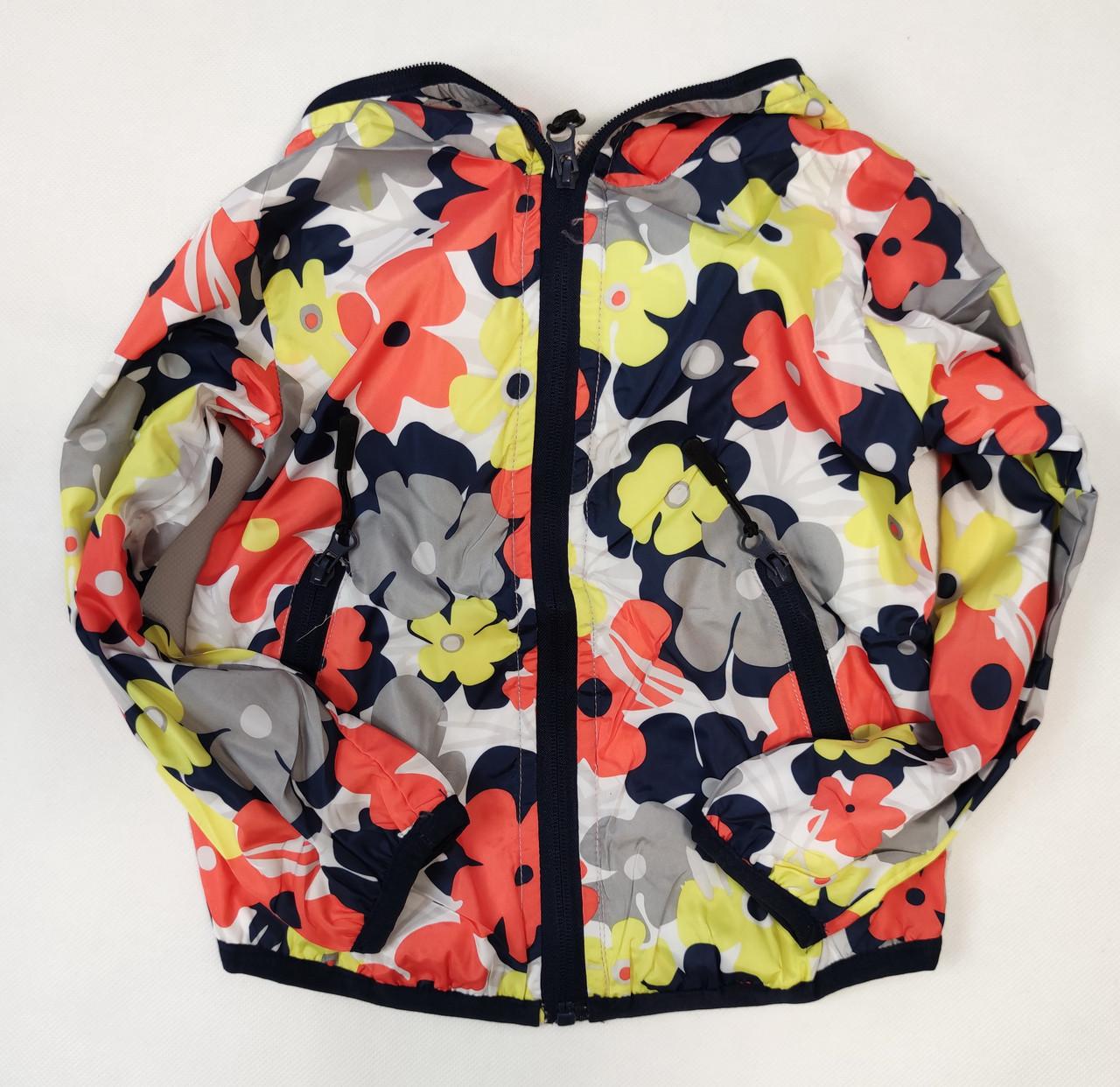 Детская куртка ветровка для девочки красные цветы 2-3 года