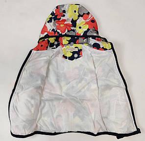 Детская куртка ветровка для девочки красные цветы 2-3 года, фото 2
