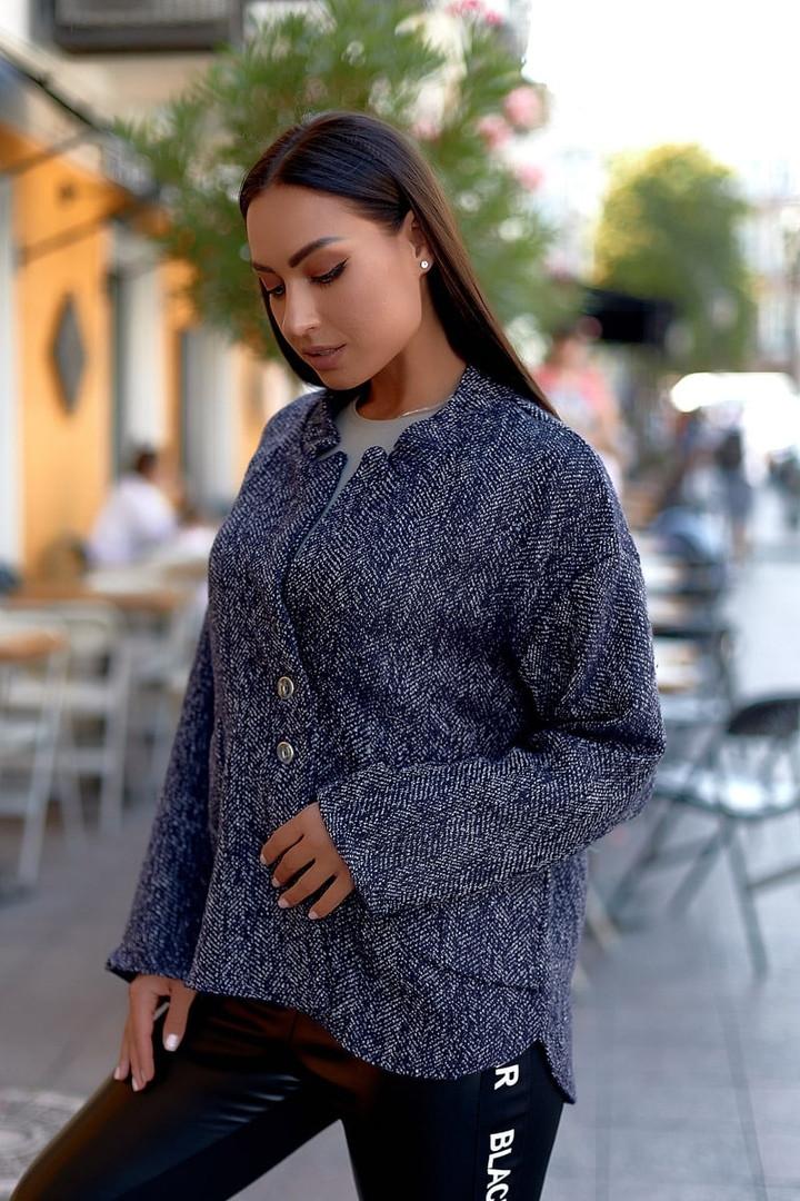 Женский стильный кардиган пиджак пальтовое букле размер батал: 48-50, 52-54, 56-58, 60-62