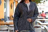 Женский стильный кардиган пиджак пальтовое букле размер батал: 48-50, 52-54, 56-58, 60-62, фото 8