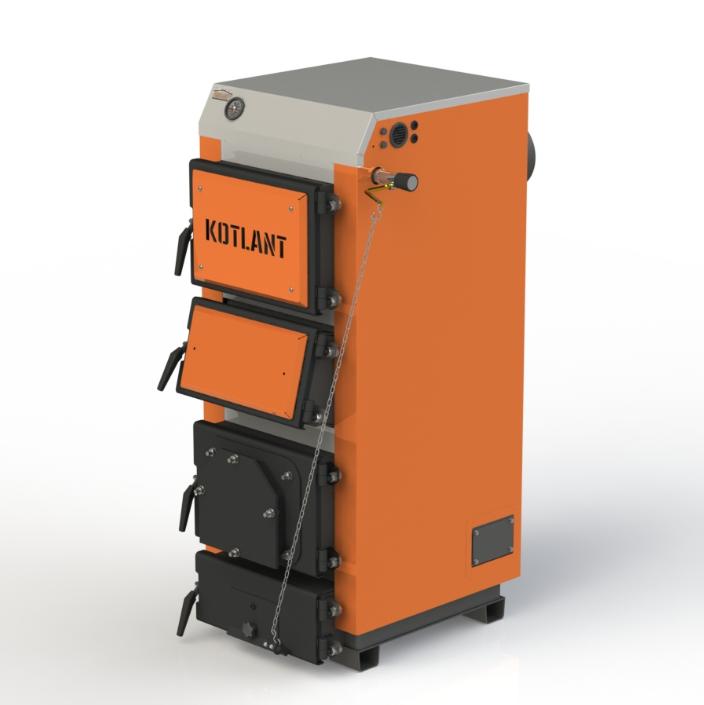 Твердопаливний котел тривалого горіння Kotlant КДУ-40 кВт з механічним регулятором тяги