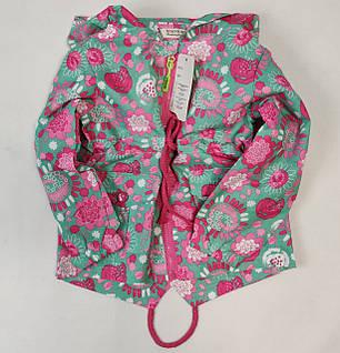 Детская куртка ветровка для девочки зелёная цветы 3-4 года, фото 2