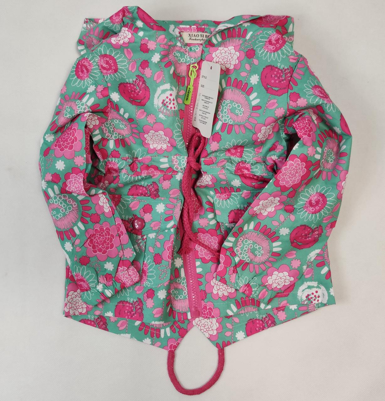 Детская куртка ветровка для девочки зелёная цветы 6-7 лет