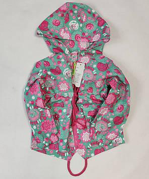 Детская куртка ветровка для девочки зелёная цветы 6-7 лет, фото 2